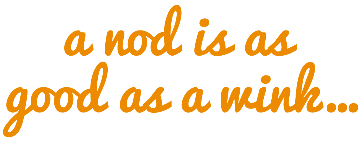 a nod is as good as a wink logo